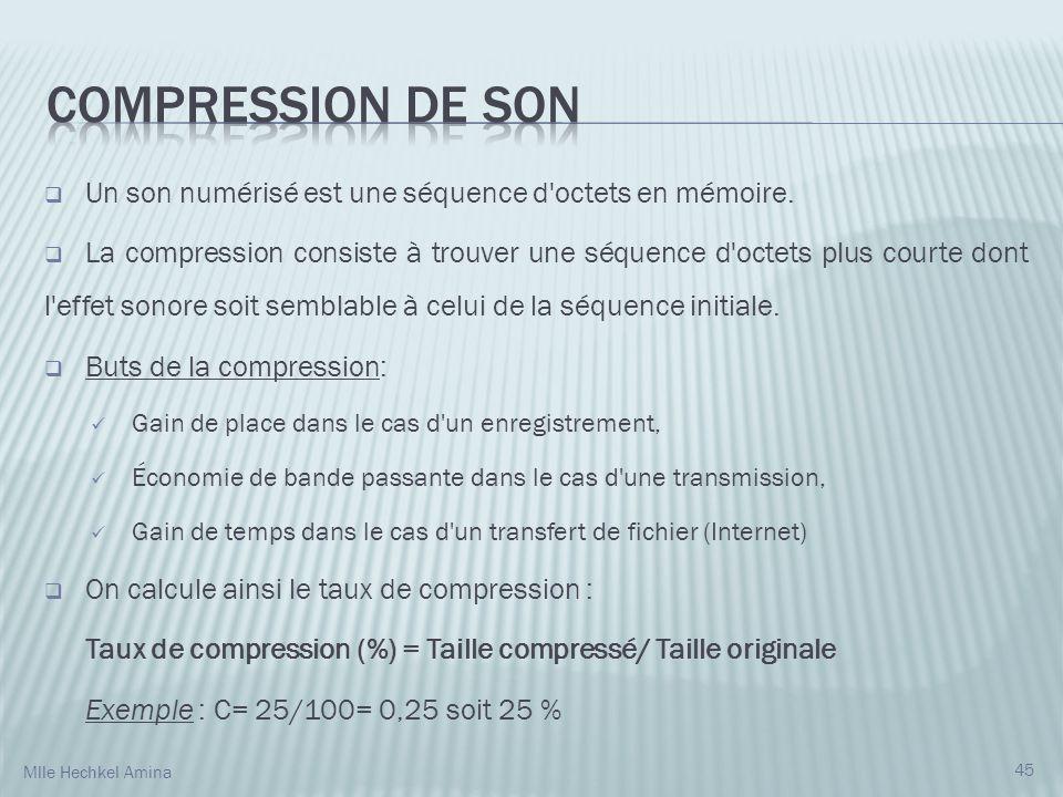 Compression de son Un son numérisé est une séquence d octets en mémoire.