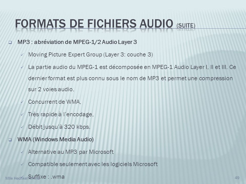 Formats de fichiers audio (suite)