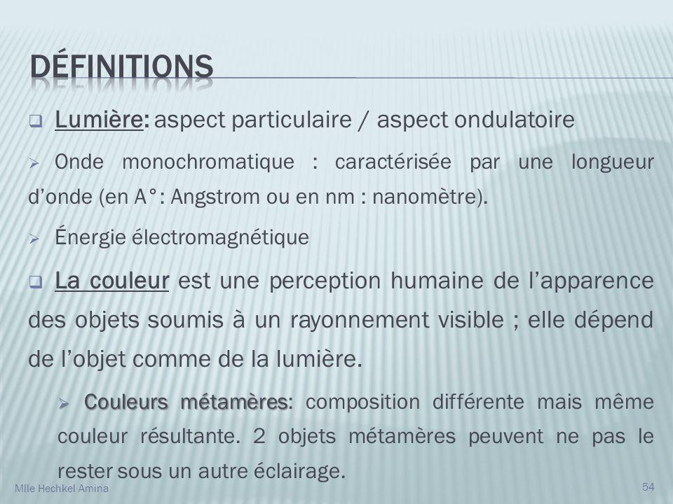 Définitions Lumière: aspect particulaire / aspect ondulatoire