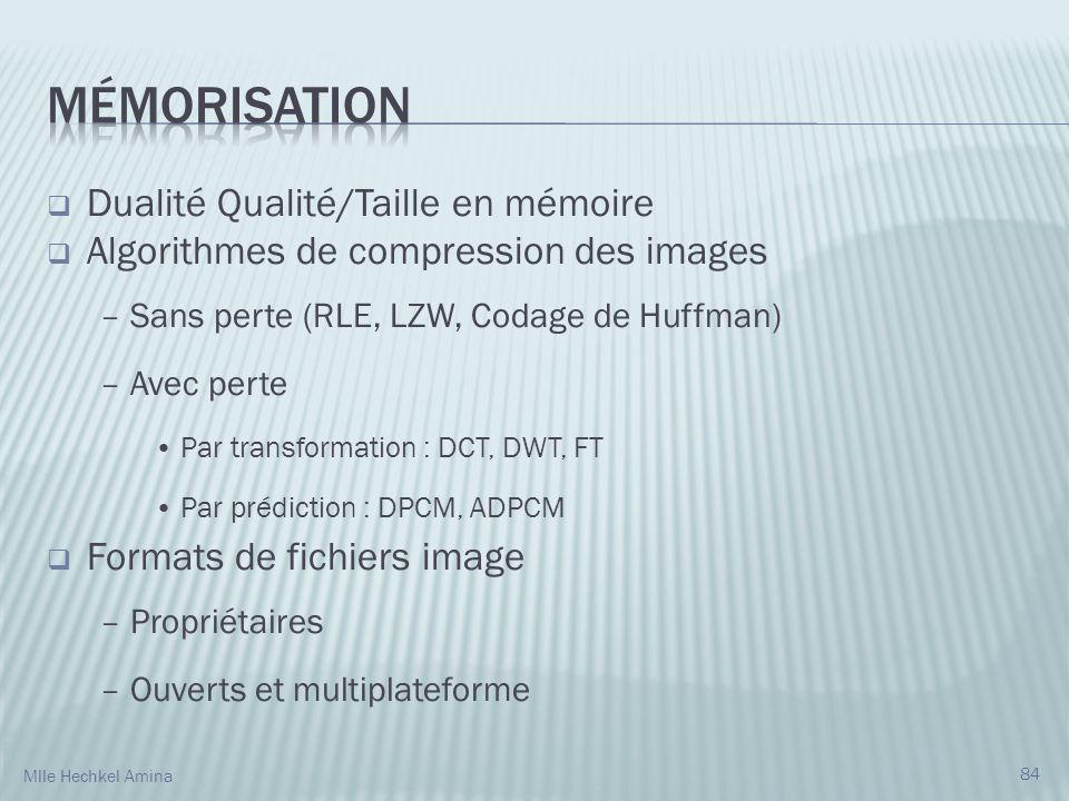Mémorisation Dualité Qualité/Taille en mémoire