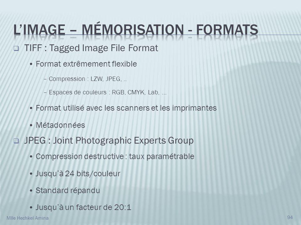 L'IMAGE – Mémorisation - Formats