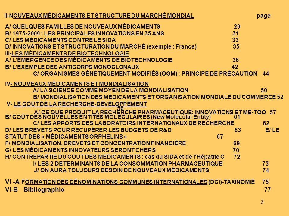 II-NOUVEAUX MÉDICAMENTS ET STRUCTURE DU MARCHÉ MONDIAL page
