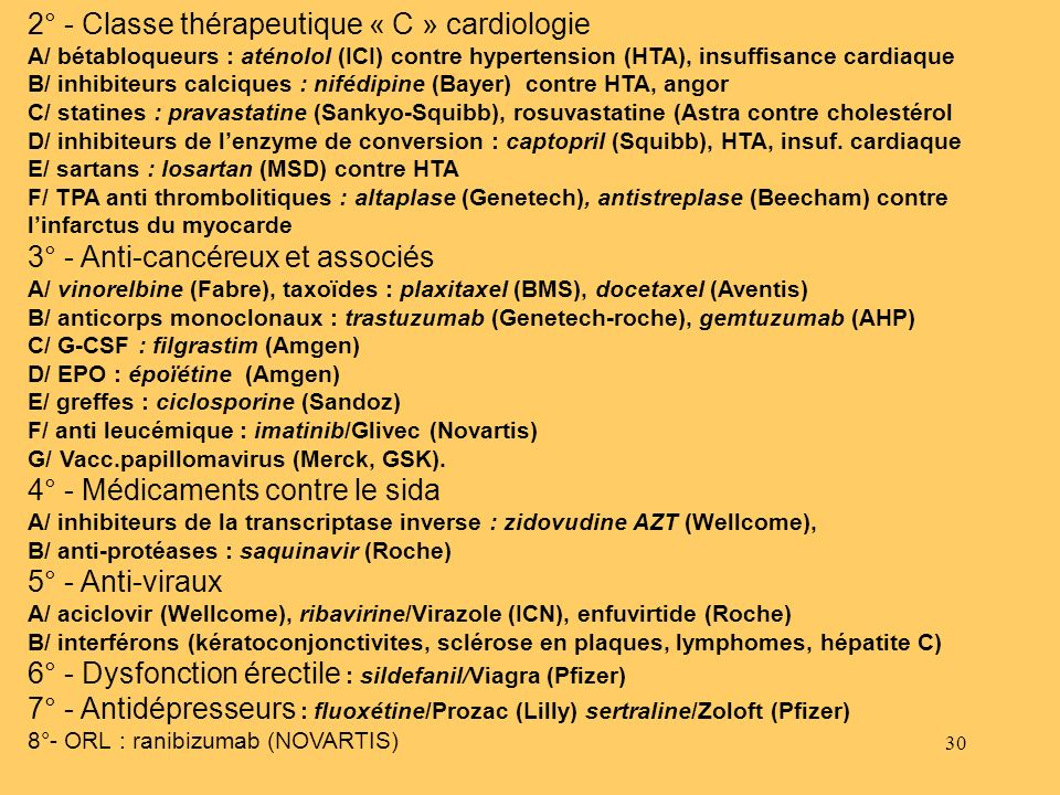 2° - Classe thérapeutique « C » cardiologie