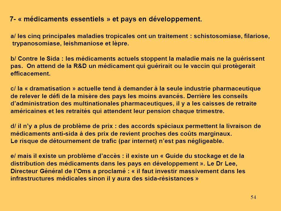 7- « médicaments essentiels » et pays en développement.