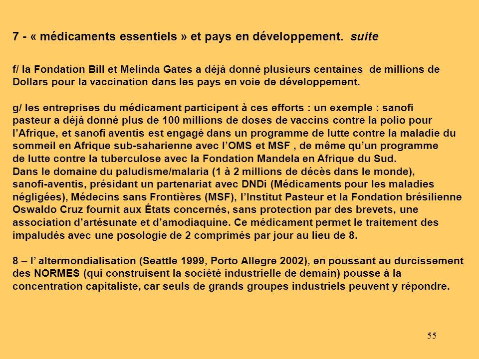 7 - « médicaments essentiels » et pays en développement. suite