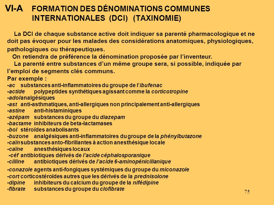 VI-A FORMATION DES DÉNOMINATIONS COMMUNES INTERNATIONALES (DCI) (TAXINOMIE)