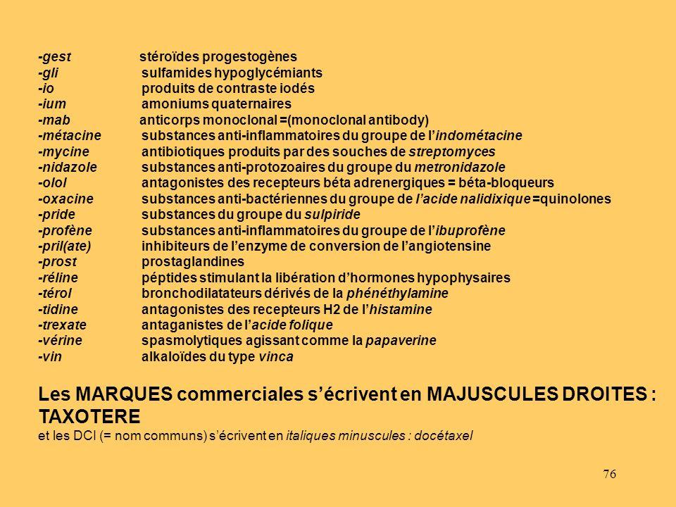 Les MARQUES commerciales s'écrivent en MAJUSCULES DROITES : TAXOTERE