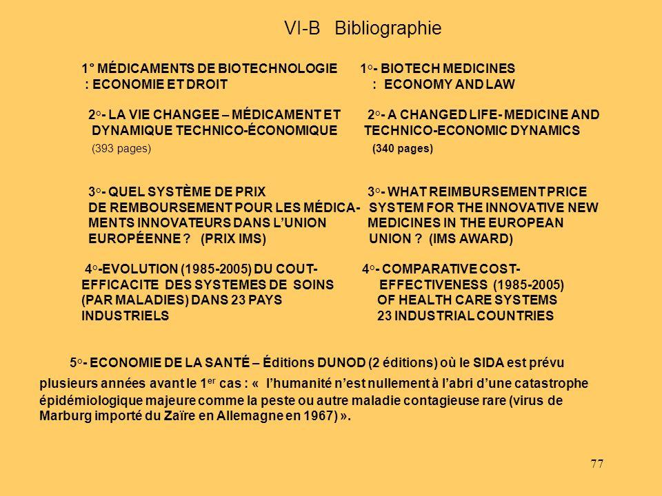 VI-B Bibliographie 1° MÉDICAMENTS DE BIOTECHNOLOGIE 1°- BIOTECH MEDICINES.