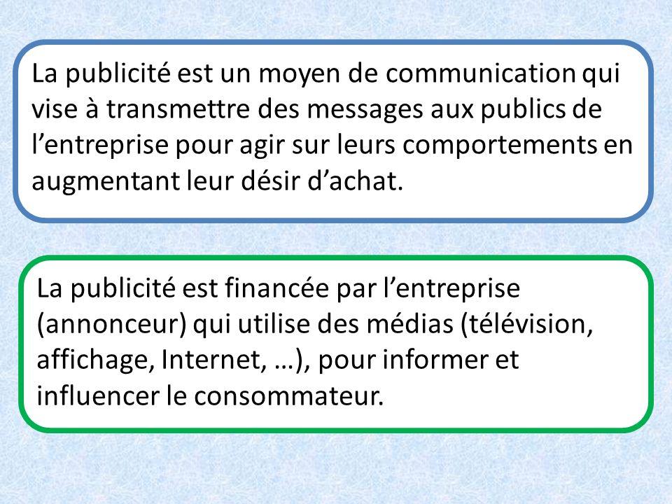 La publicité est un moyen de communication qui vise à transmettre des messages aux publics de l'entreprise pour agir sur leurs comportements en augmentant leur désir d'achat.
