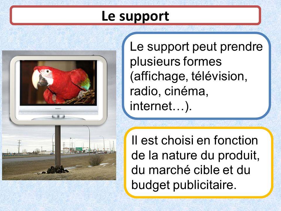 Le support Le support peut prendre plusieurs formes (affichage, télévision, radio, cinéma, internet…).