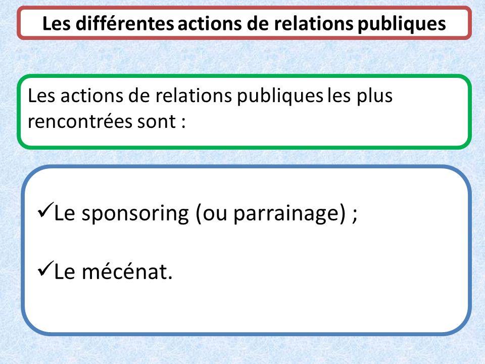 Les différentes actions de relations publiques
