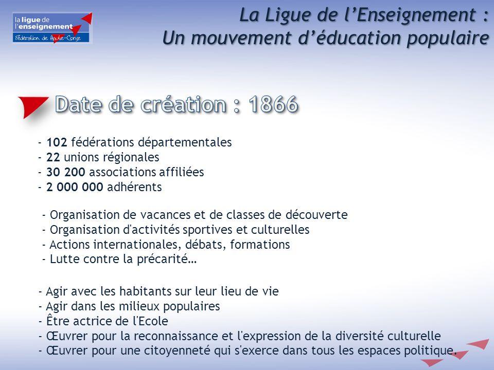 Date de création : 1866 La Ligue de l'Enseignement :