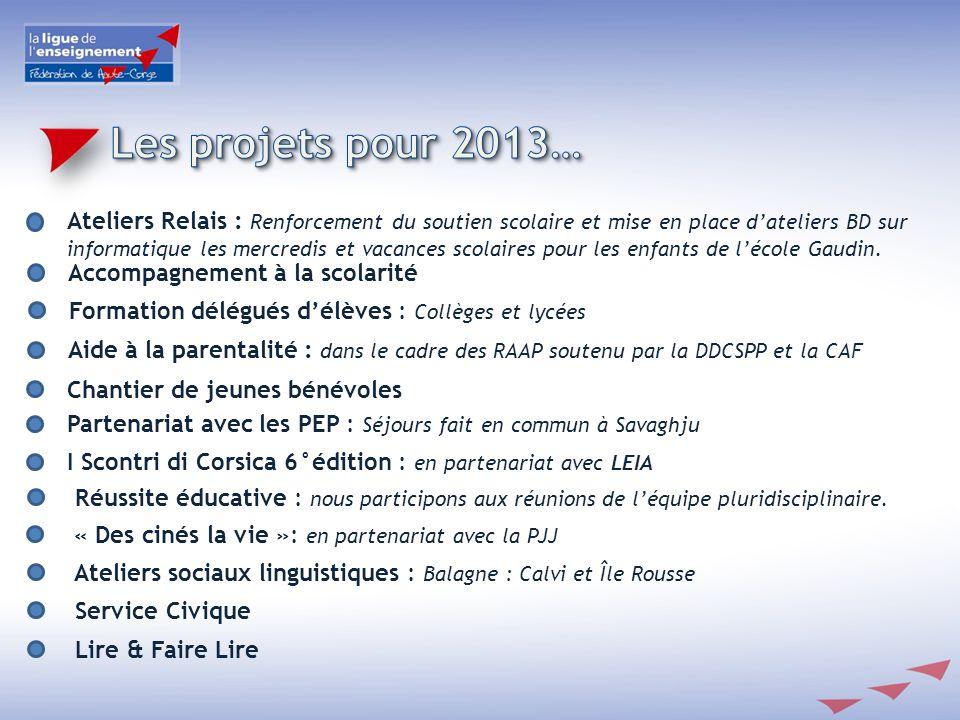Les projets pour 2013…