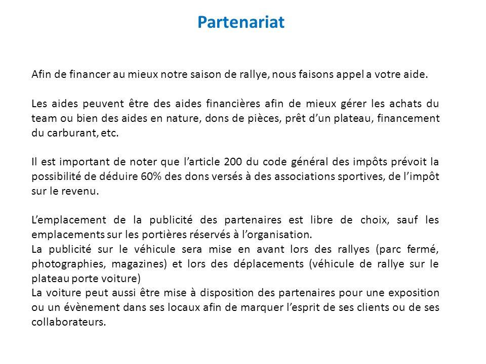 Partenariat Afin de financer au mieux notre saison de rallye, nous faisons appel a votre aide.