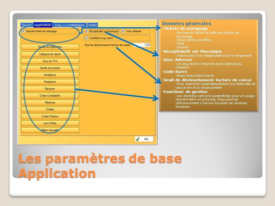 Les paramètres de base Application