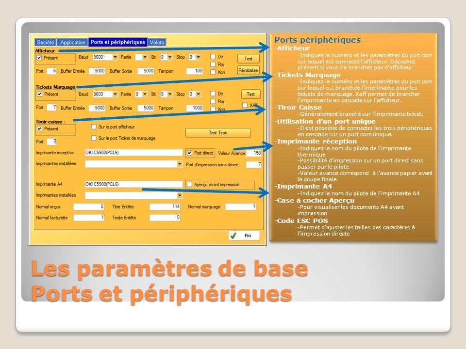 Les paramètres de base Ports et périphériques