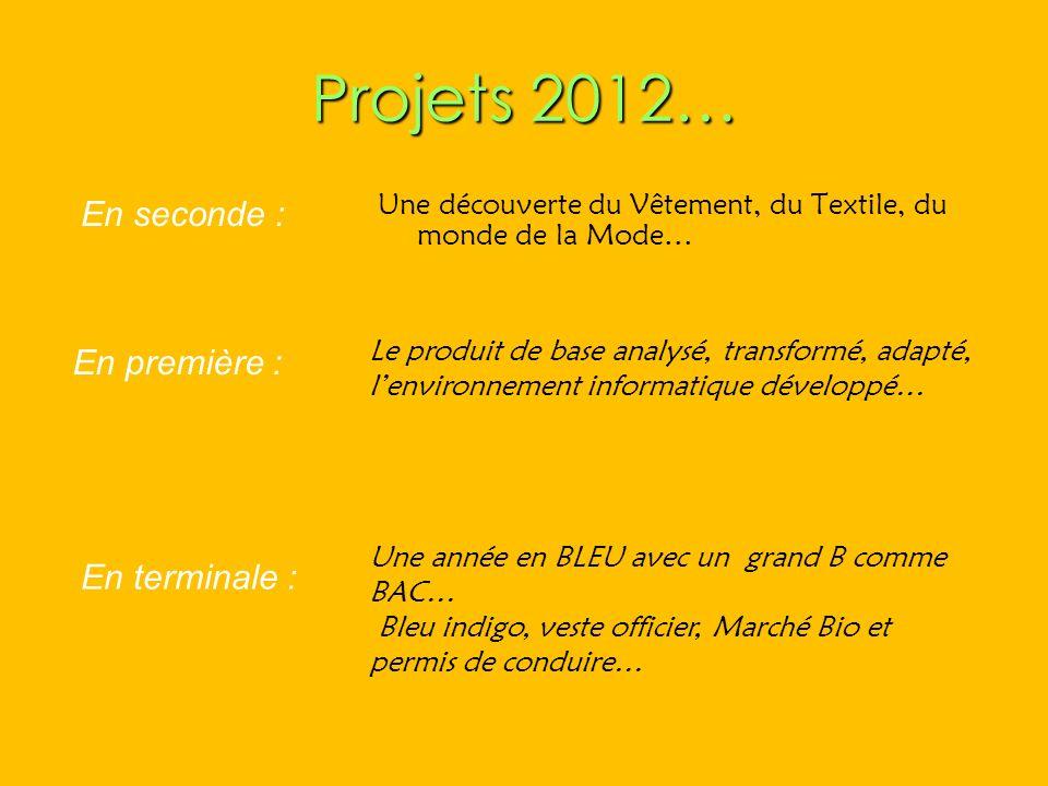 Projets 2012… En seconde : En première : En terminale :