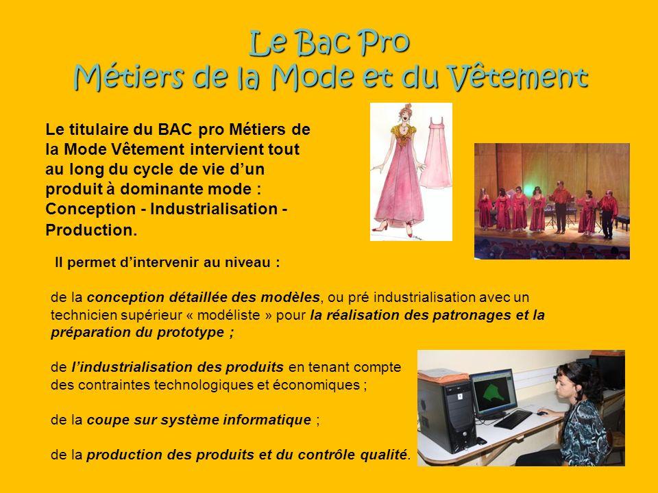 Le Bac Pro Métiers de la Mode et du Vêtement