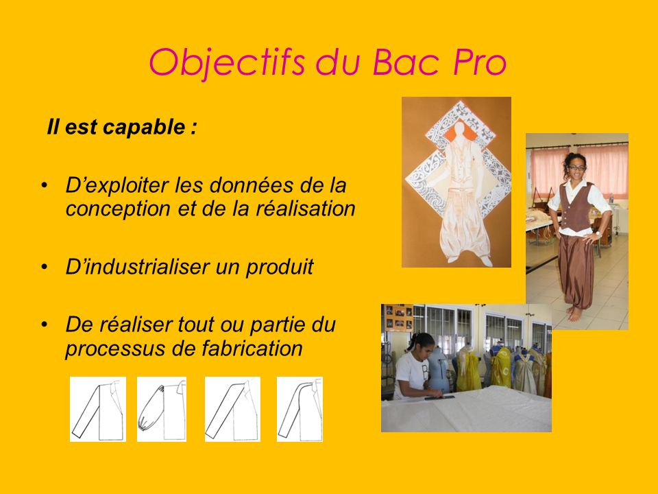 Objectifs du Bac Pro Il est capable :