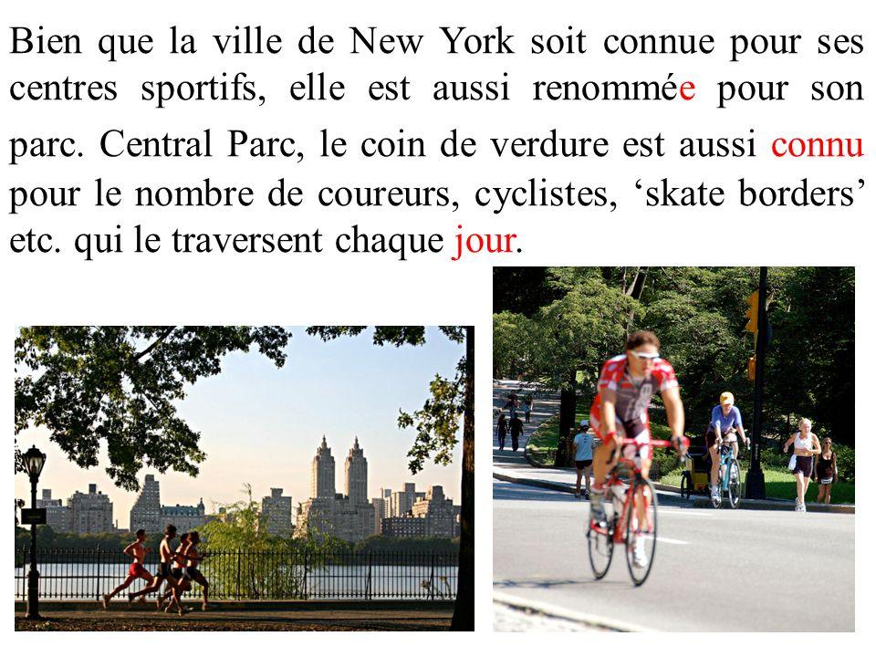 Bien que la ville de New York soit connue pour ses centres sportifs, elle est aussi renommée pour son parc.