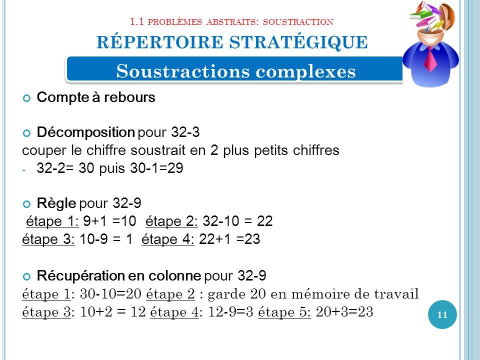 1.1 problèmes abstraits: soustraction répertoire stratégique