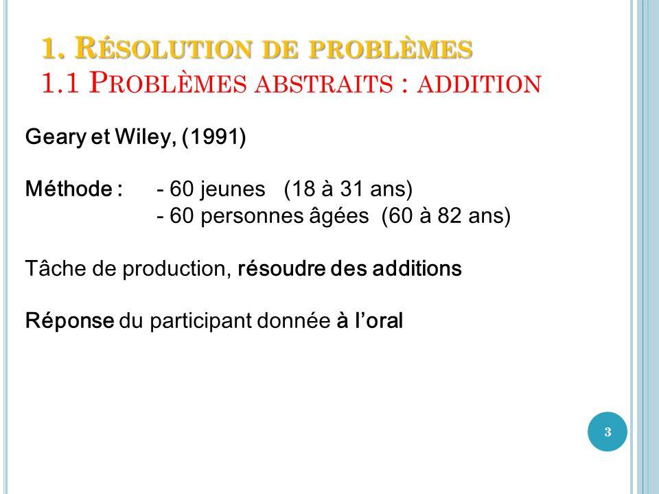 1. Résolution de problèmes 1.1 Problèmes abstraits : addition