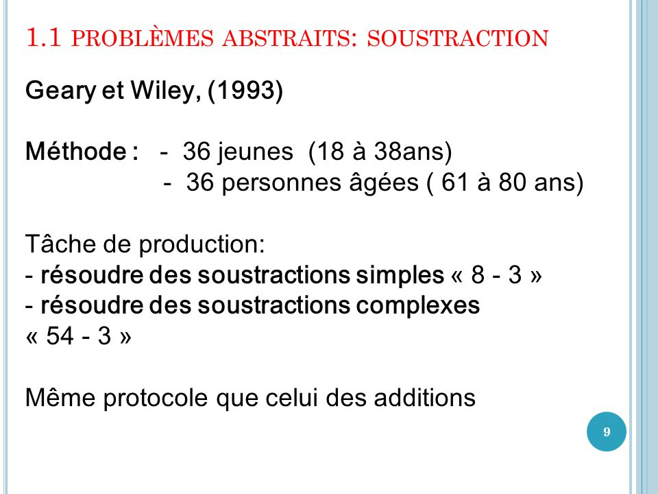 1.1 problèmes abstraits: soustraction
