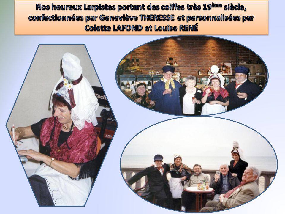 Nos heureux Larpistes portant des coiffes très 19ème siècle, confectionnées par Geneviève THERESSE et personnalisées par Colette LAFOND et Louise RENÉ