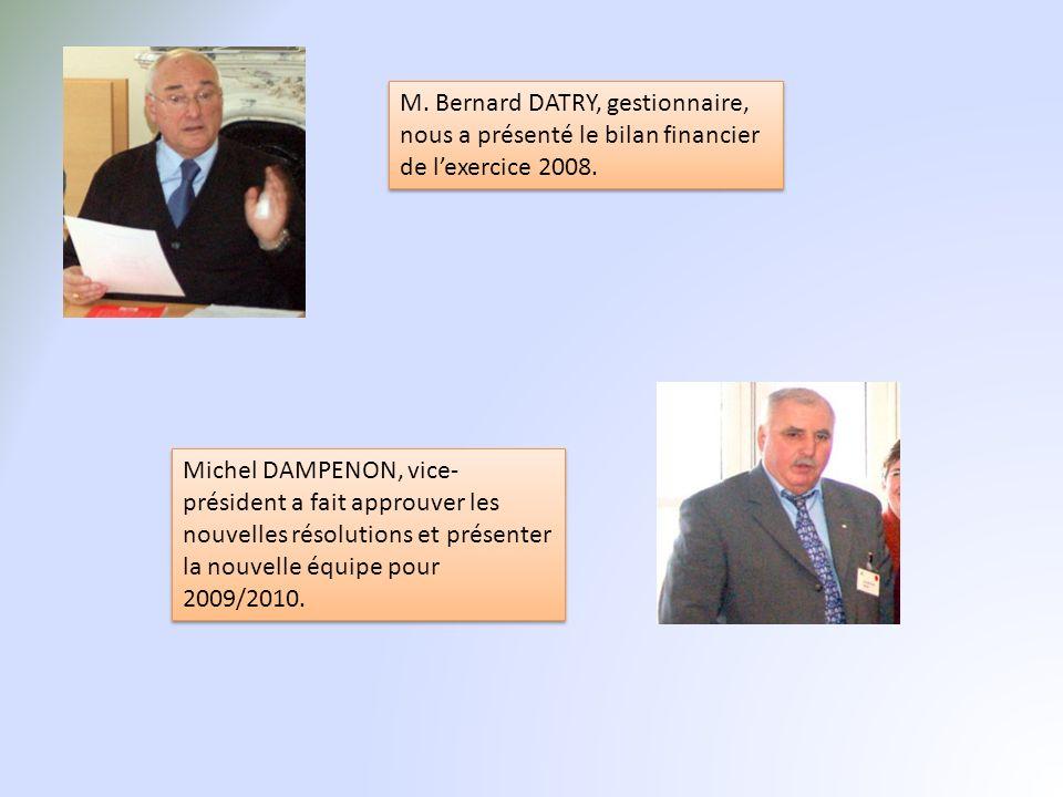 M. Bernard DATRY, gestionnaire, nous a présenté le bilan financier de l'exercice 2008.