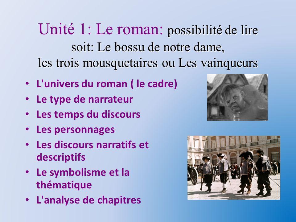 Unité 1: Le roman: possibilité de lire soit: Le bossu de notre dame, les trois mousquetaires ou Les vainqueurs