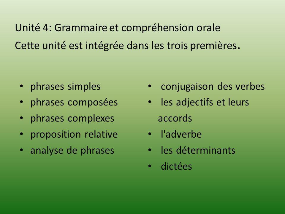 Unité 4: Grammaire et compréhension orale Cette unité est intégrée dans les trois premières.