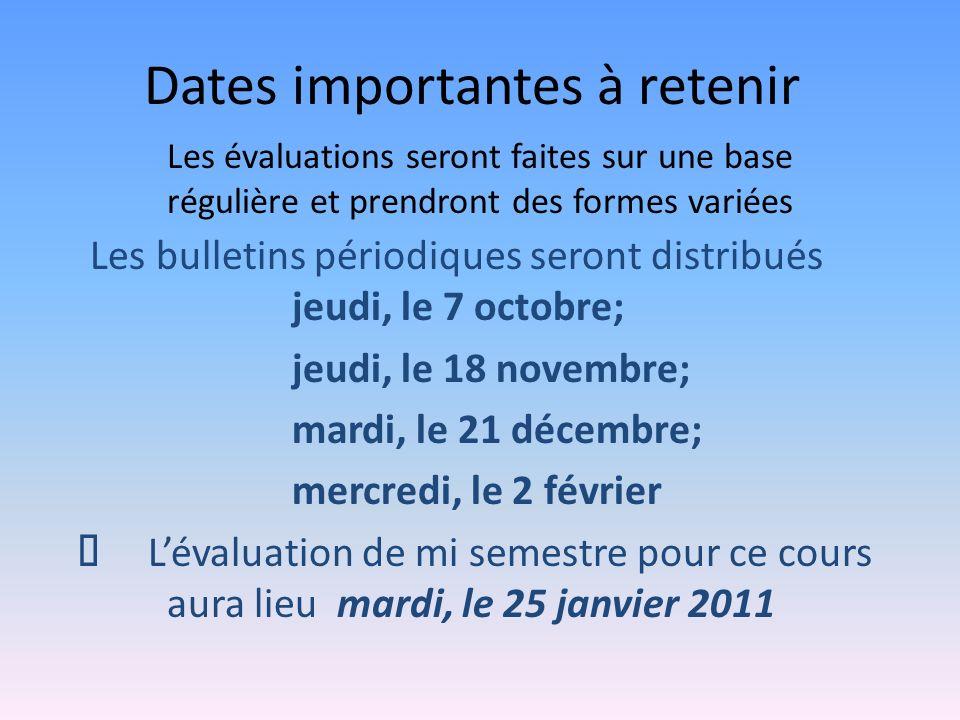 Dates importantes à retenir