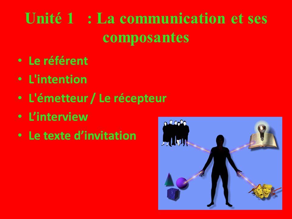 Unité 1 : La communication et ses composantes