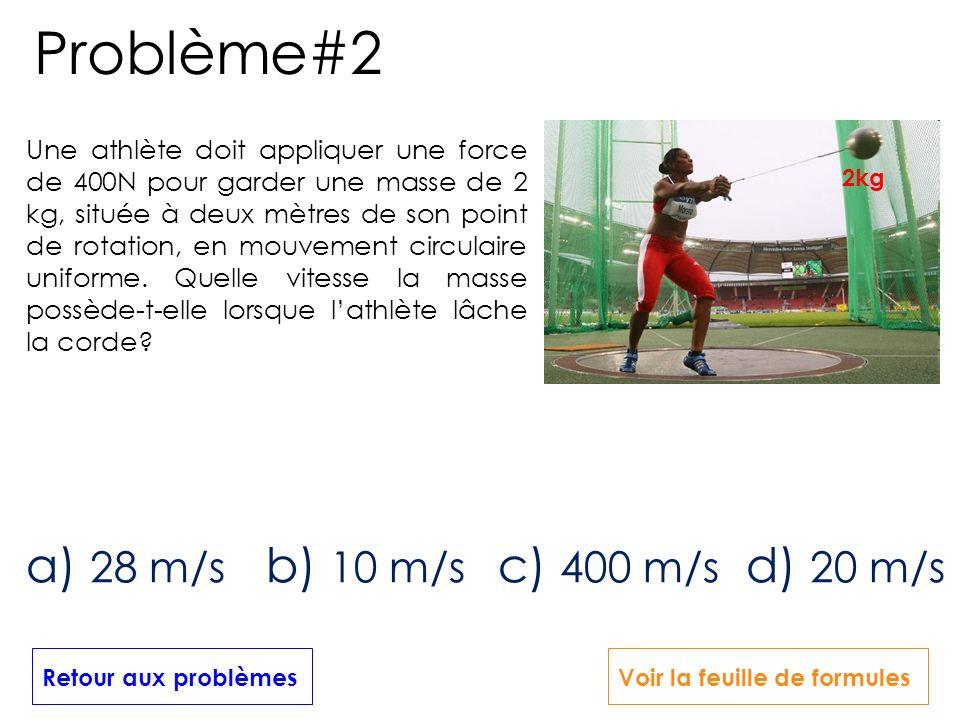 Problème#2 a) 28 m/s b) 10 m/s c) 400 m/s d) 20 m/s
