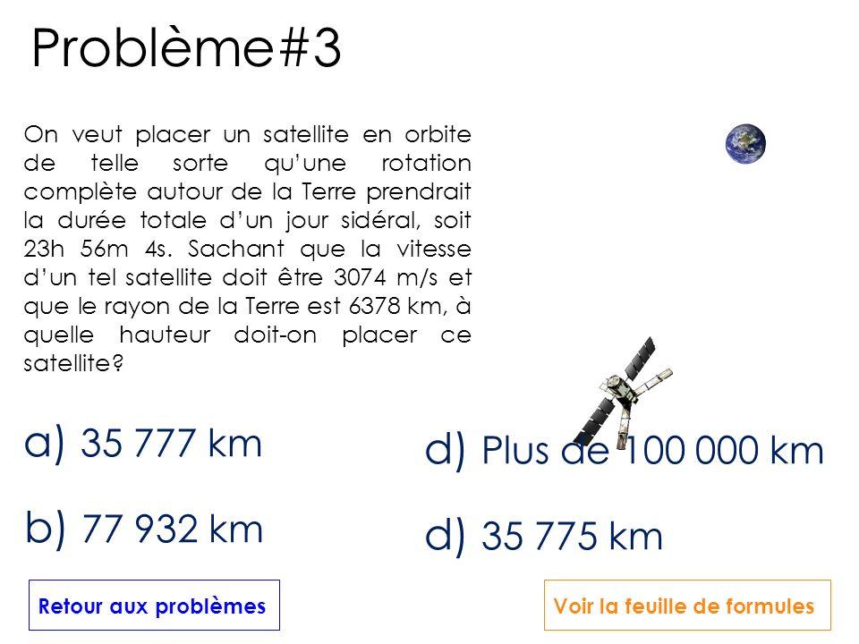 Problème#3 a) 35 777 km d) Plus de 100 000 km b) 77 932 km