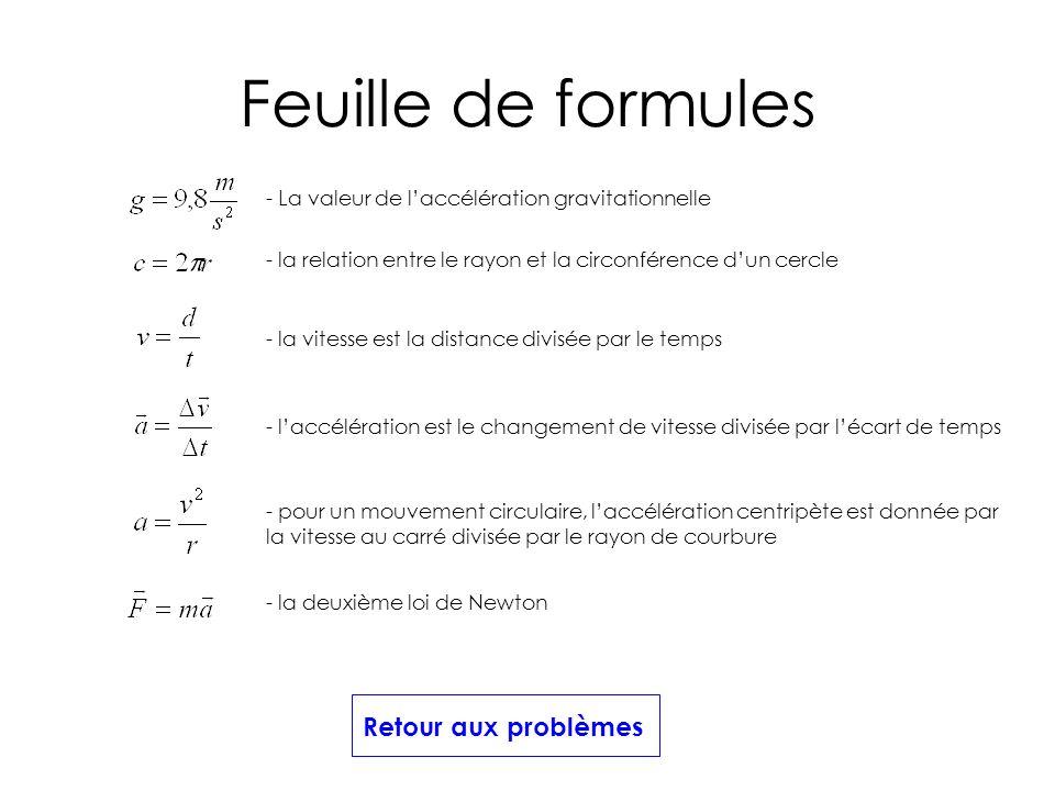 Feuille de formules Retour aux problèmes