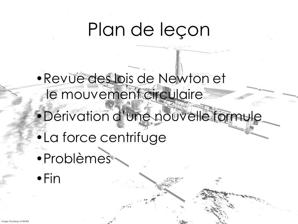 Plan de leçon Revue des lois de Newton et le mouvement circulaire