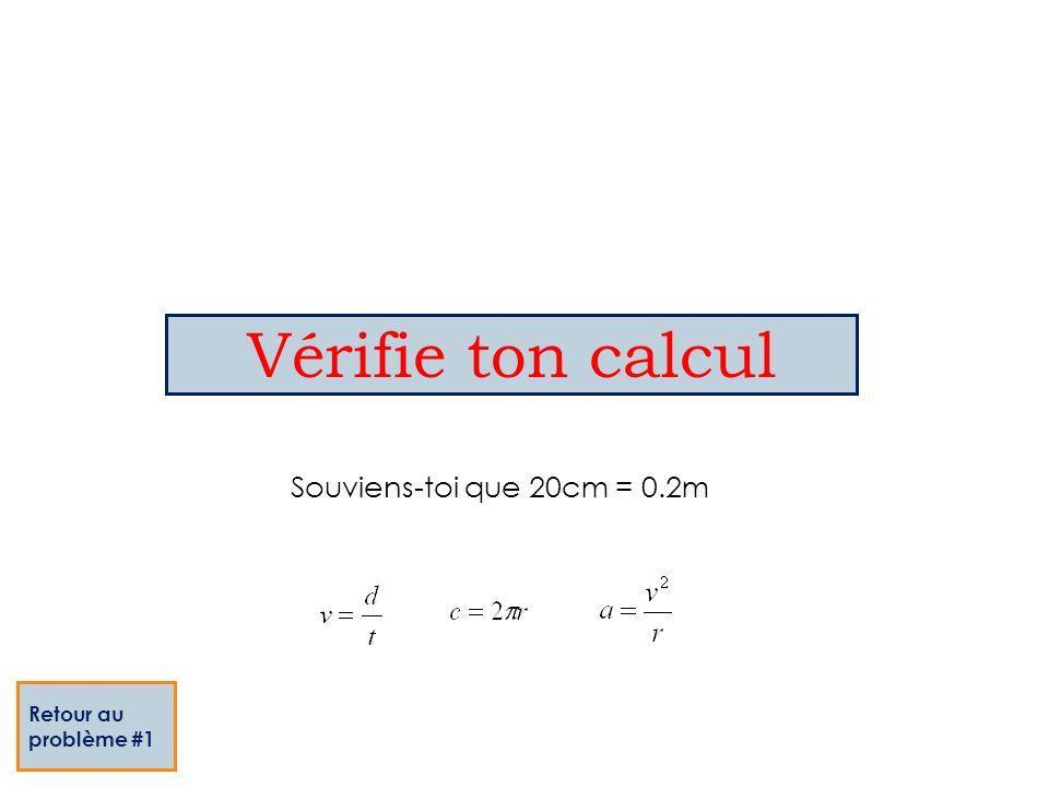 Vérifie ton calcul Souviens-toi que 20cm = 0.2m Retour au problème #1