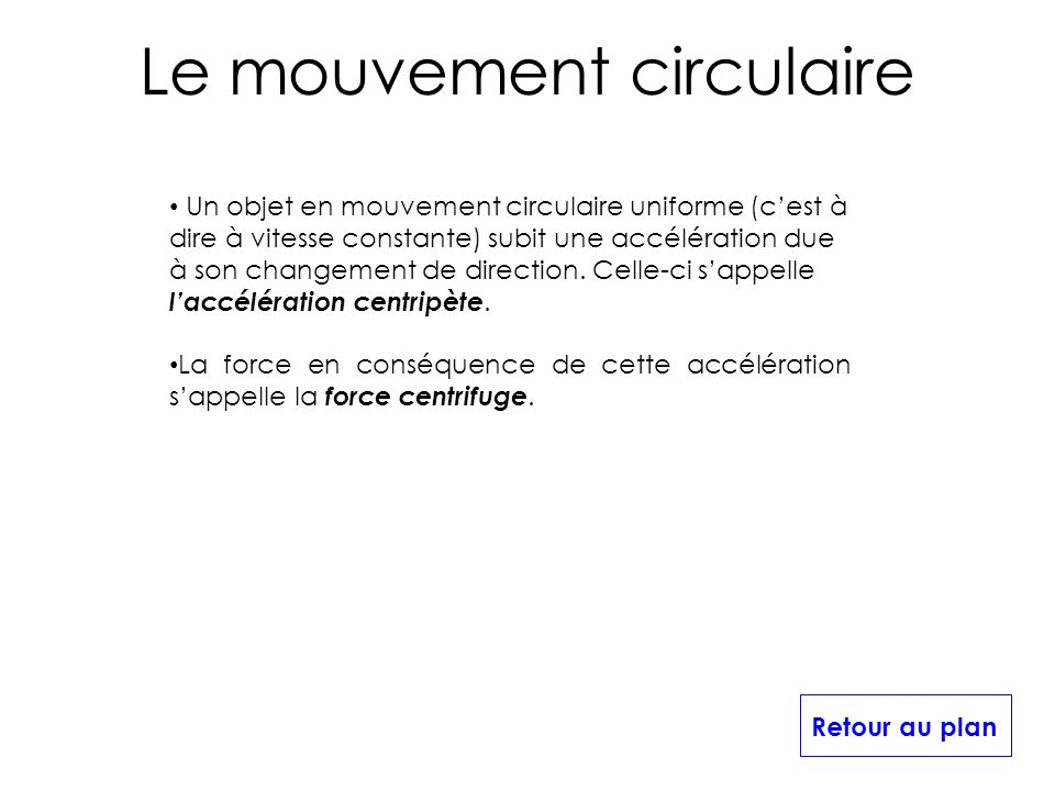Le mouvement circulaire