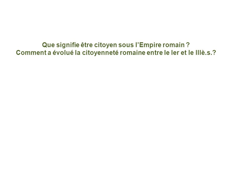 Que signifie être citoyen sous l'Empire romain