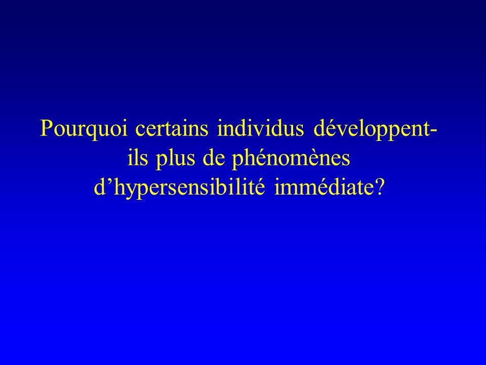 Pourquoi certains individus développent-ils plus de phénomènes d'hypersensibilité immédiate