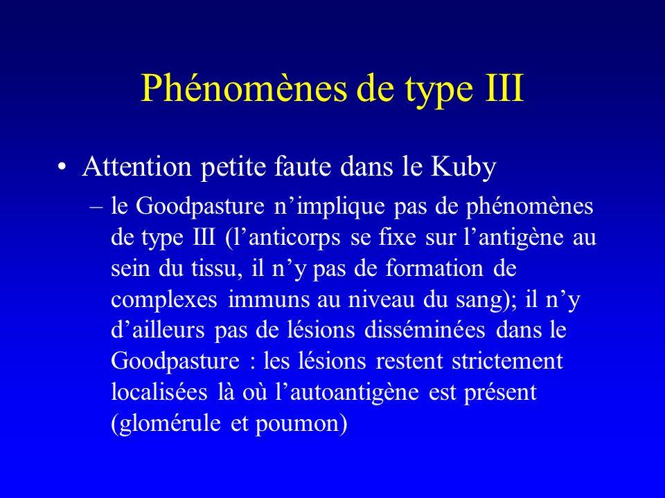 Phénomènes de type III Attention petite faute dans le Kuby