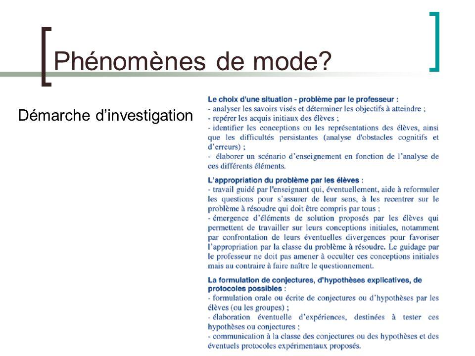 Phénomènes de mode Démarche d'investigation