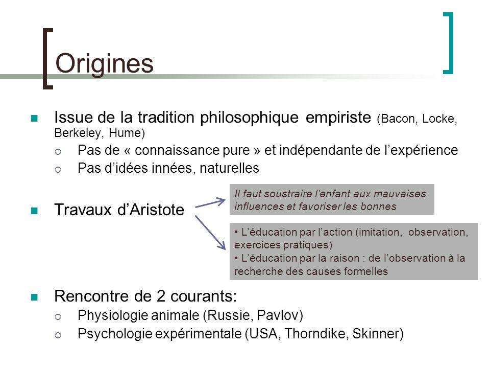Origines Issue de la tradition philosophique empiriste (Bacon, Locke, Berkeley, Hume) Pas de « connaissance pure » et indépendante de l'expérience.