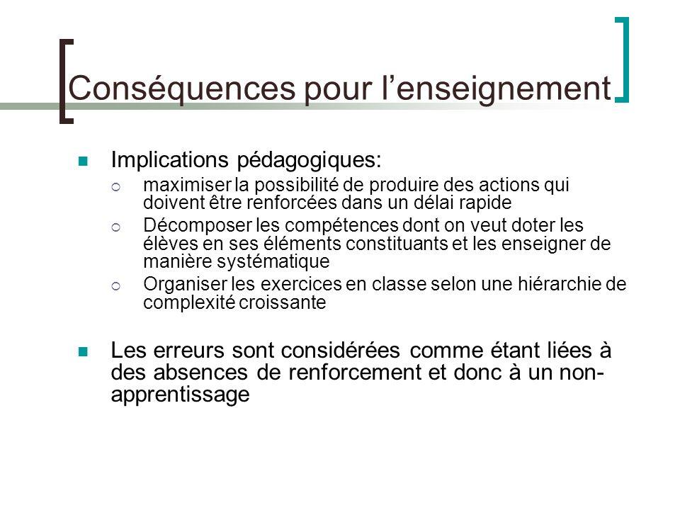 Conséquences pour l'enseignement