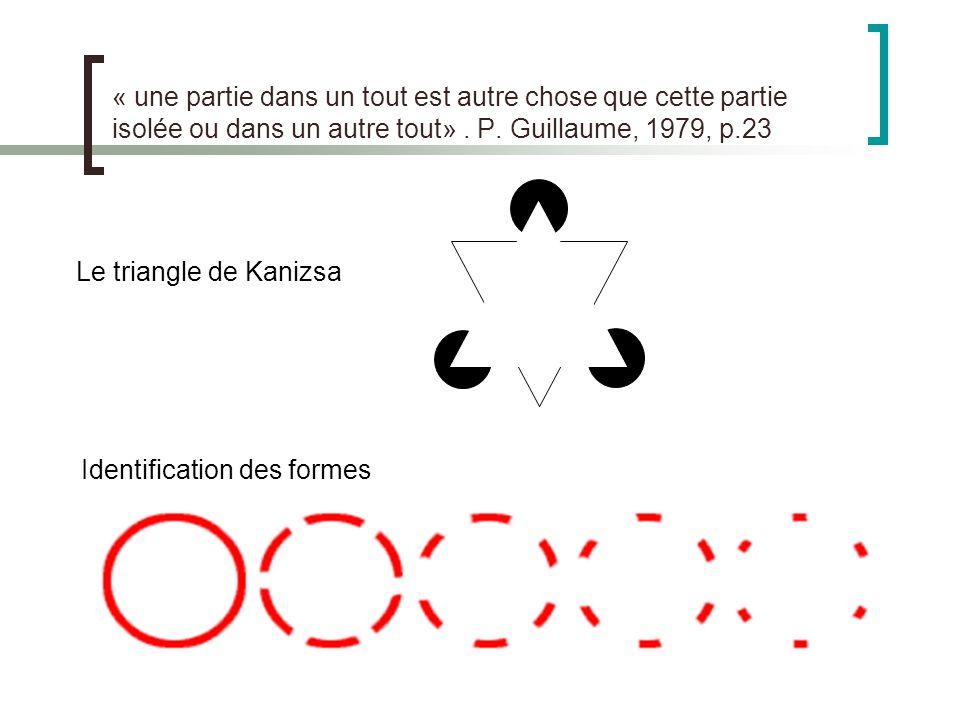 « une partie dans un tout est autre chose que cette partie isolée ou dans un autre tout» . P. Guillaume, 1979, p.23