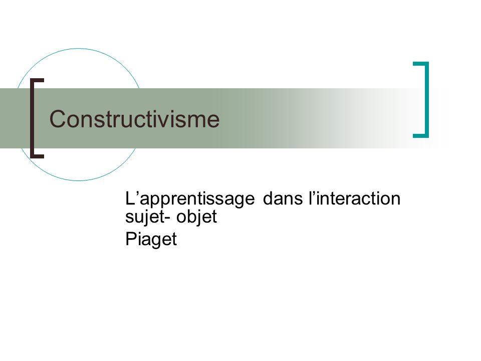 L'apprentissage dans l'interaction sujet- objet Piaget