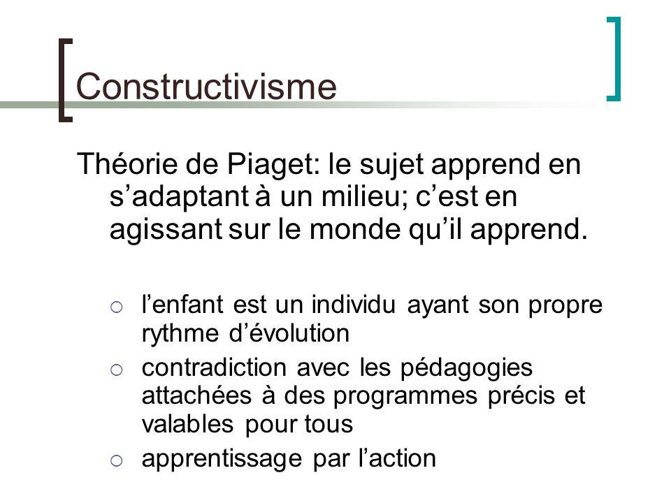 Constructivisme Théorie de Piaget: le sujet apprend en s'adaptant à un milieu; c'est en agissant sur le monde qu'il apprend.