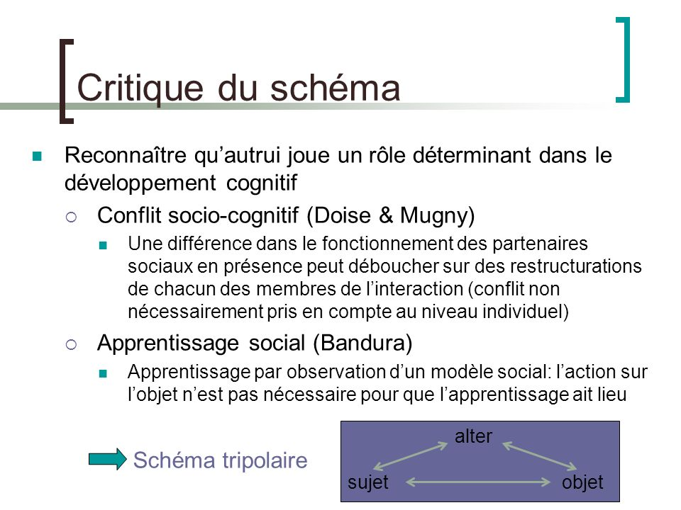 Critique du schéma Reconnaître qu'autrui joue un rôle déterminant dans le développement cognitif. Conflit socio-cognitif (Doise & Mugny)
