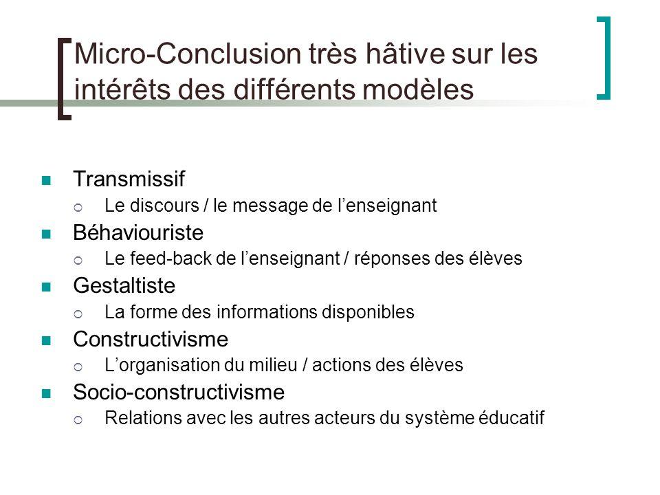 Micro-Conclusion très hâtive sur les intérêts des différents modèles